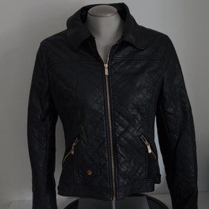 Ness Faux Leather Jacket Gold Details  *Few Flaws*